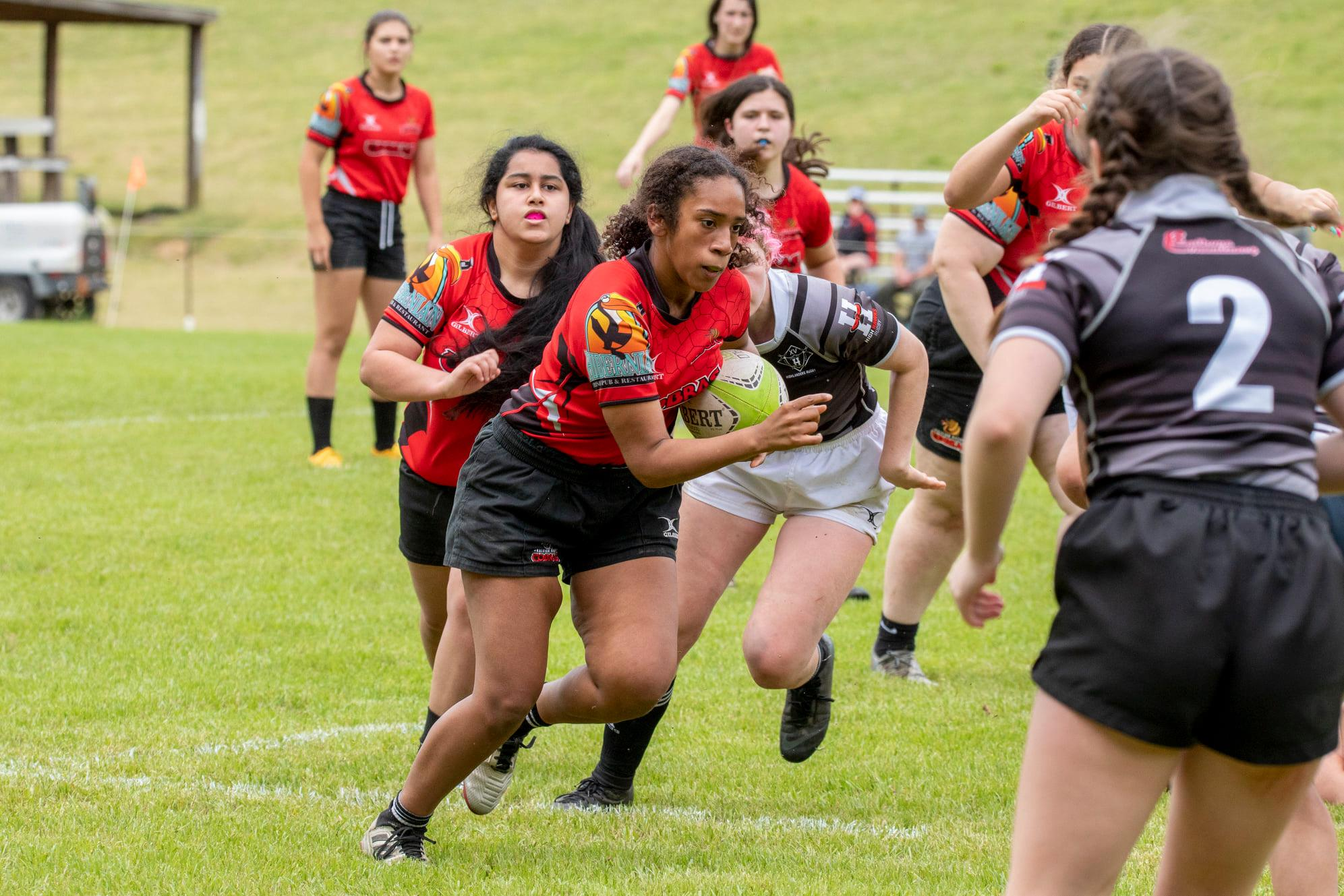 High School Girl Rugby with Ball